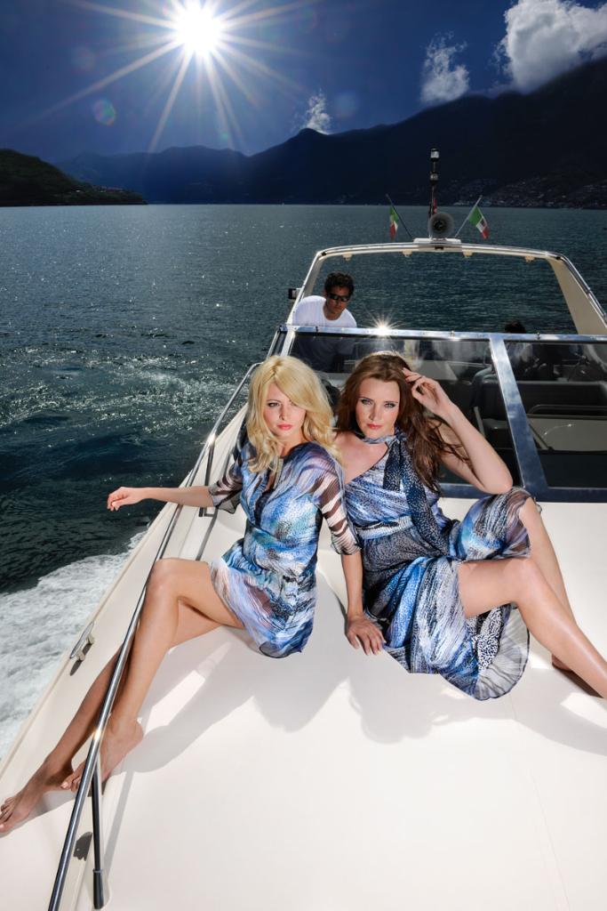 Produktion Modefotos Sommerkollektion auf Yacht