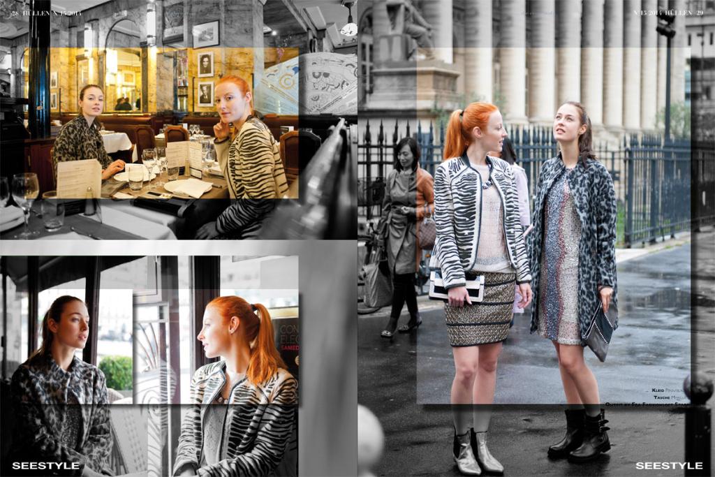 Fashioneditorial - Shooting in den Pariser Cafes rund um die Pariser Börse.